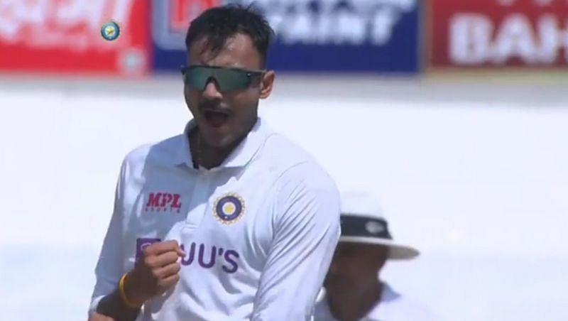 Axar Patel celebrates the wicket of Joe Root on Sunday (Image source: Twitter)