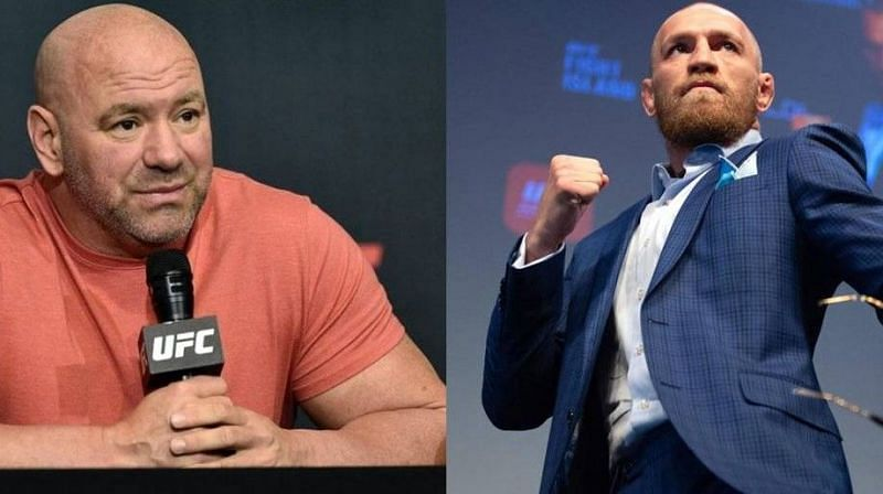 Dana White (left); Conor McGregor (right)