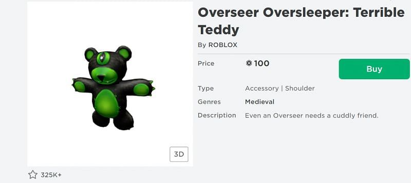 The Overseer Oversleeper: Terrible Teddy shoulder accessory on the Roblox Avatar Shop (Image via Roblox.com)
