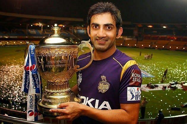 Gautam Gambhir with the IPL trophy for the Kolkata Knight Riders
