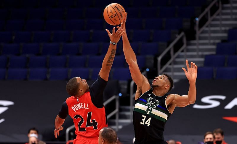 Giannis Antetokounmpo #34 of the Milwaukee Bucks will hope for better results in the rematch against the Toronto Raptors tonight