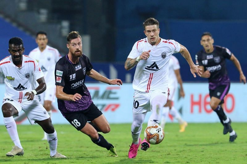 NorthEast United FC and Odisha FC players in action in their previous ISL clash (Image Courtesy: ISL Media)