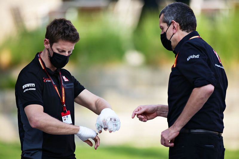 Romain Grosjean suffered burns on both hands (Photo by Peter Fox/Getty Images)
