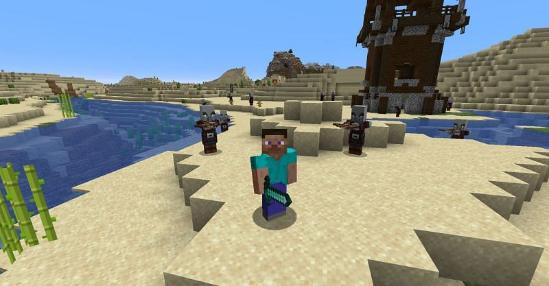 Steve surrounded by Illagers in Minecraft. (Image via Minecraft)