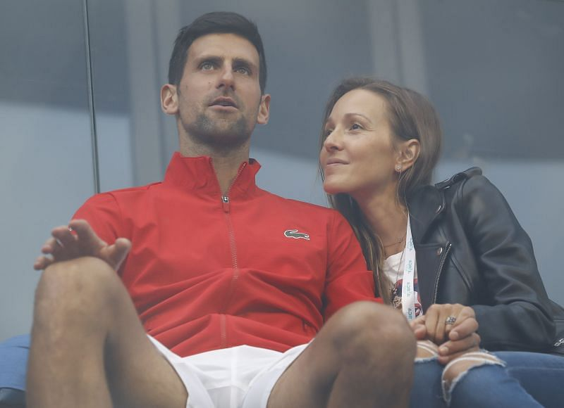Novak Djokovic with his wife Jelena