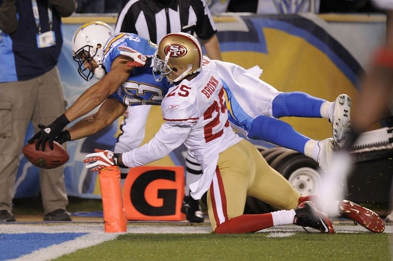 Vincent Jackson in action for the San Diego Chargers against the San Francisco 49ers