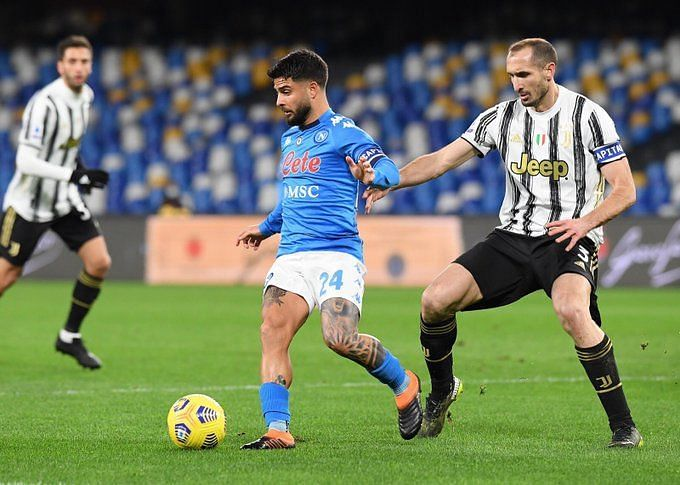Lorenzo Insigne brought up his 100th goal for Napoli in all competitions by scoring against Juventus.