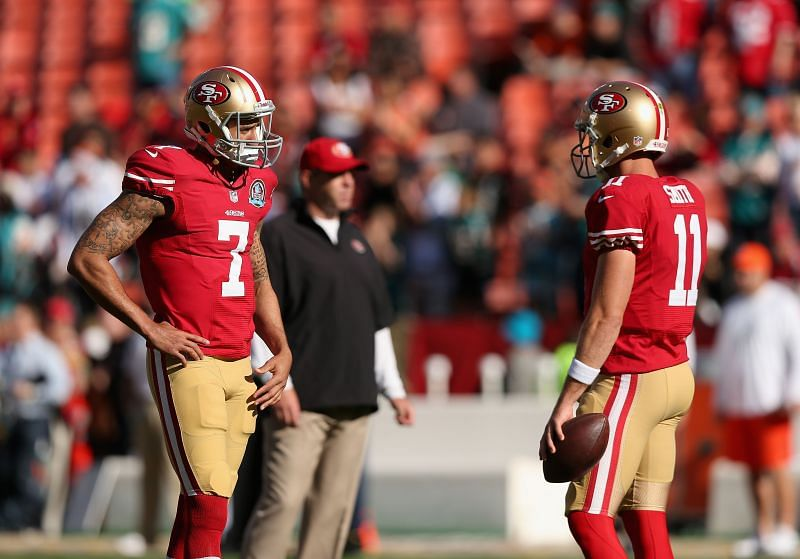 Kaepernick (7) and Smith (11), with the San Francisco 49ers