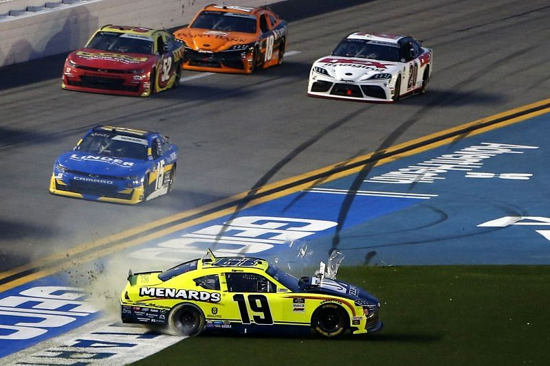 Brandon Jones spins through the grass in the NASCAR Xfinity Series race at Daytona. Photo/Getty Images