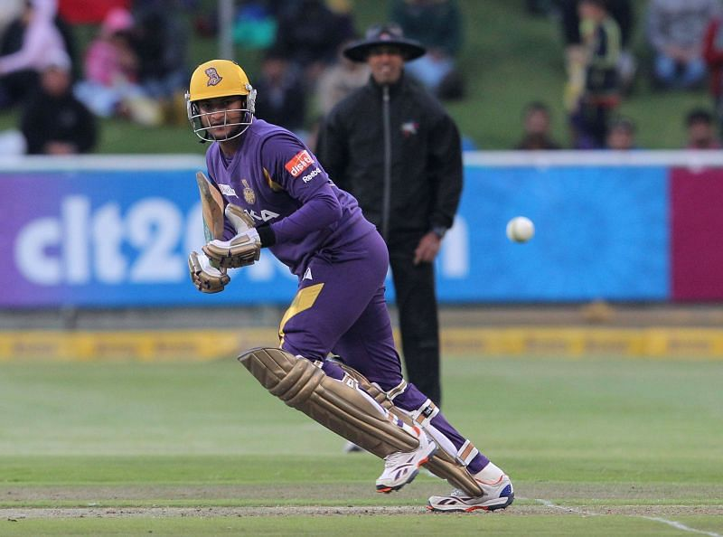 Shakib Al Hasan in action for the Kolkata Knight Riders during CLT20 2012