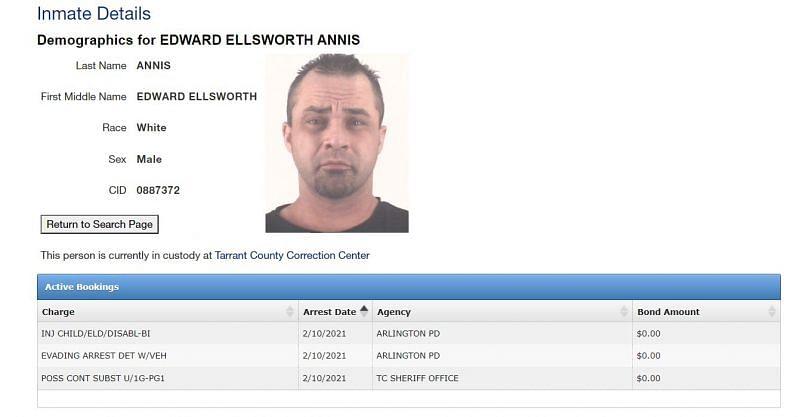 Teddy Hart - real name Edward Ellsworth Annis - Tarrant County Correction Center