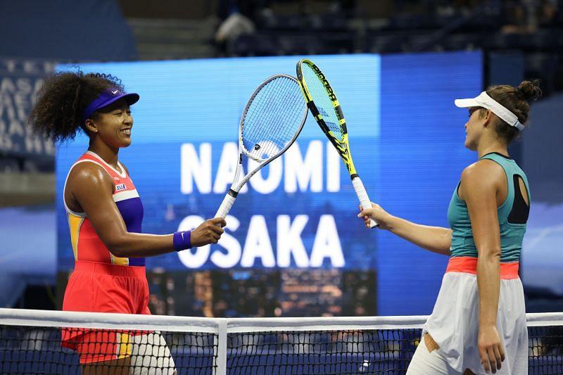 Naomi Osaka (L) and Jennifer Brady after their US Open 2020 semifinal match