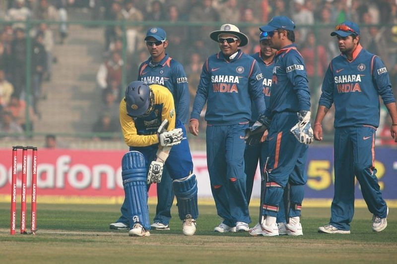 The Lankan batters got some nasty hits at the dangerous Kotla pitch