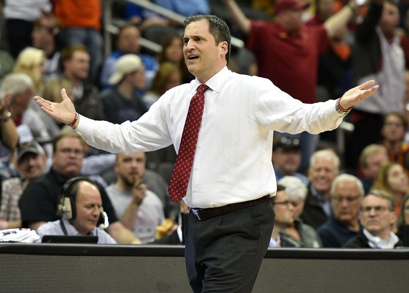 Head coach Steve Prohm of the Iowa State Cyclones reacts to a foul call