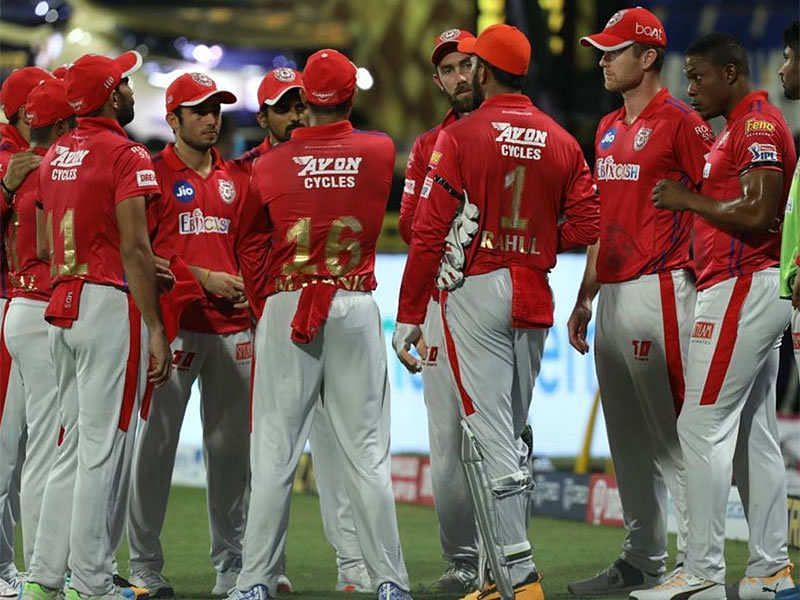 Kings XI Punjab players in a huddle