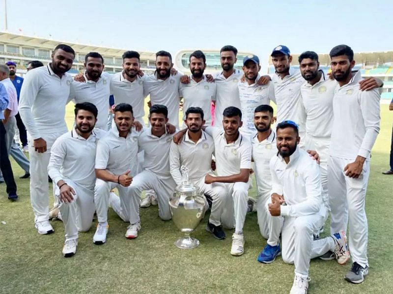 Chetan Sakariya and his Saurashtra teammates pose with the 2019-20 Ranji Trophy.