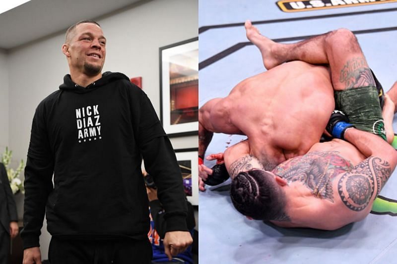 Nate Diaz reacts to submission
