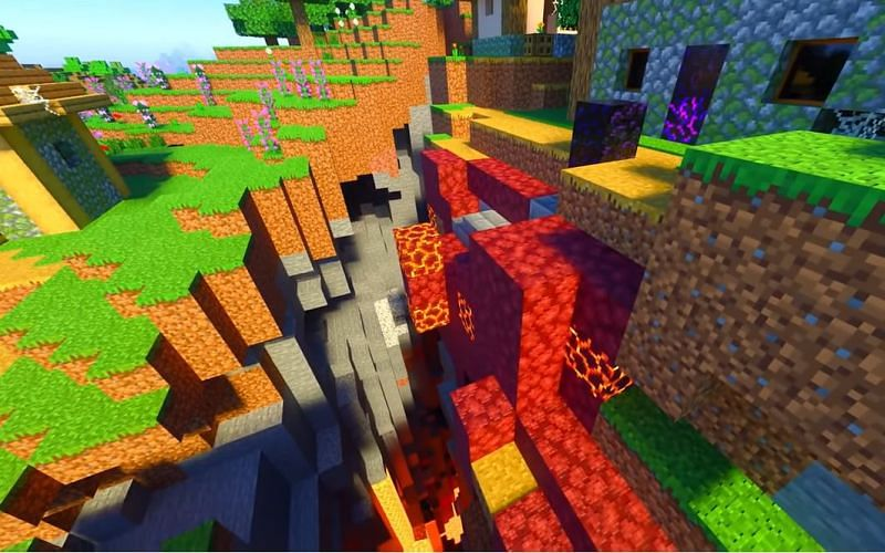 A scary-looking ravine in a Minecraft village thanks to the broken Ruined Portal generation (Image via Minecraft & Chill/YouTube)