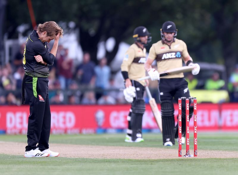 Action from the first New Zealand-Australia T20I  game