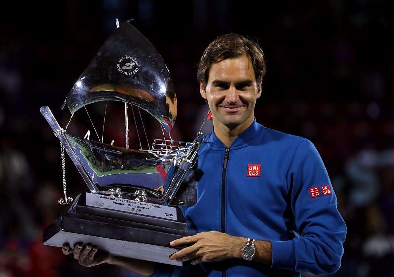 Roger Federer with the winner