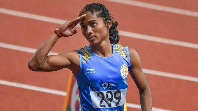 Hima Das topped the podium in women