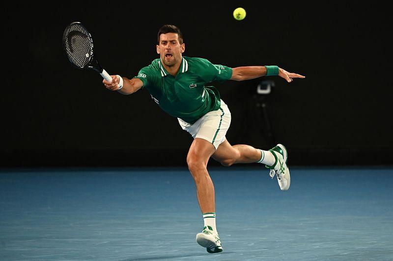 Novak Djokovic during his match against Taylor Fritz