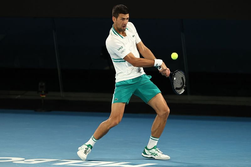 Novak Djokovic in action against Milos Raonic