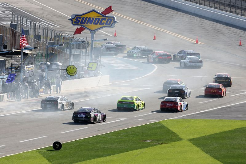Drivers leave pit road early in the NASCAR Cup Series O
