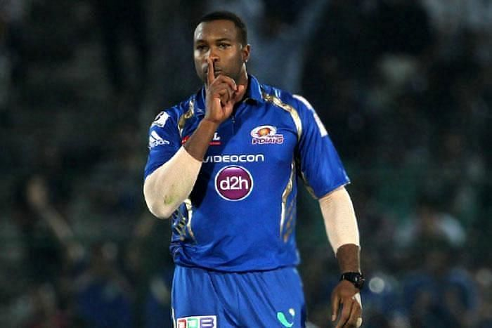 Kieron Pollard in IPL action for the Mumbai Indians