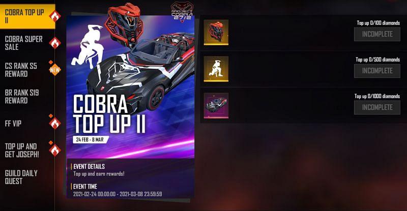 Cobra Top Up II event in Free Fire