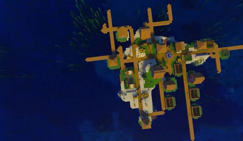 A sprawling fishing village island filled with docks in Minecraft (Image via Minecraft & Chill/YouTube)