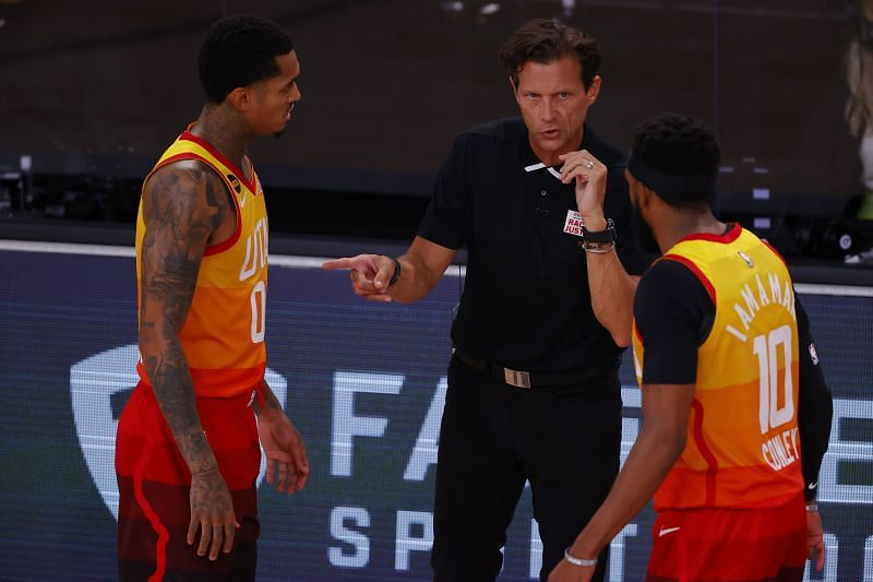 Utah Jazz coach Quin Snyder with stars Mike Conley and Jordan Clarkson