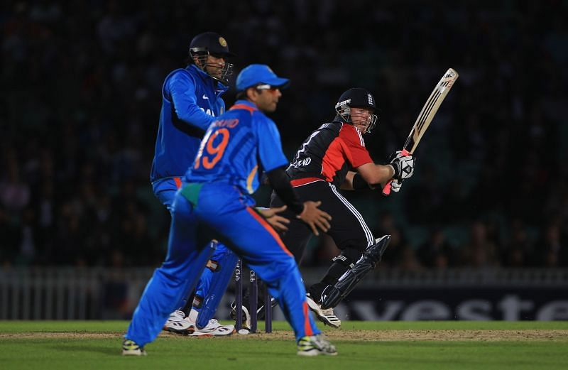 Action from an India v England game.