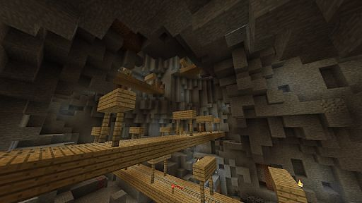 The insides of a Minecraft mineshaft