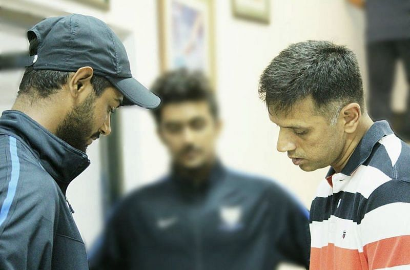 Sumit Kumar with former Indian captain Rahul Dravid