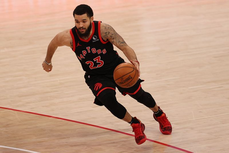 Fred VanVleet #23 of the Toronto Raptors dribbles forward