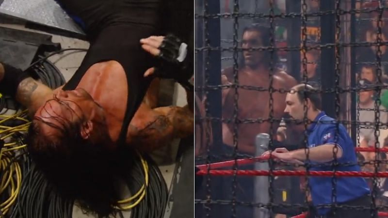 The Undertaker (left); The Great Khali and Jimmy Korderas (right)