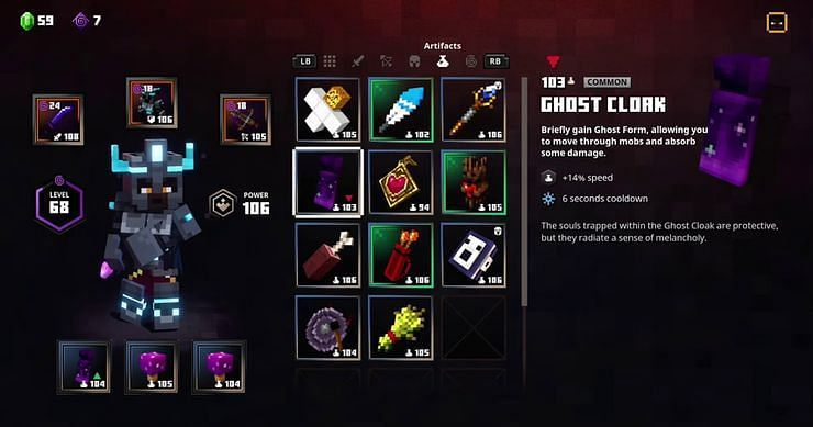Shown: Ghost Cloak Stats (Image via Minecraft Dungeons)