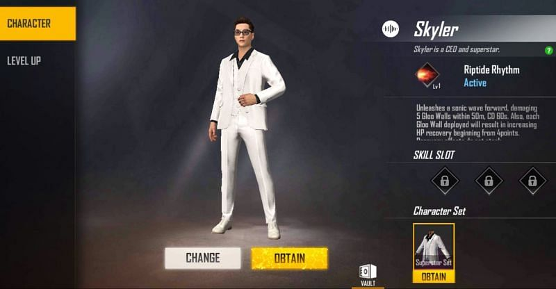 Garena Free Fire में Skyler कैरेक्टर Skyler can be upgraded with Character Level Up cards.