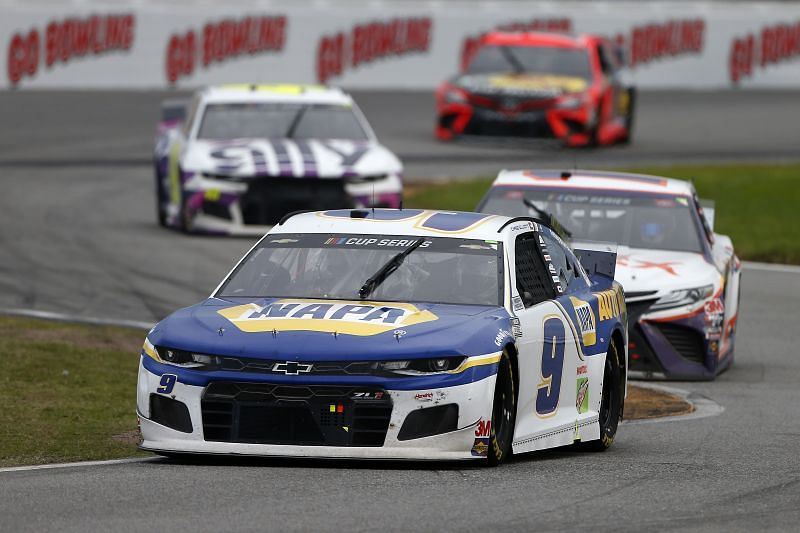 Chase Elliott leads on the Daytona Road Course in 2020. Photo/Getty Images