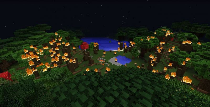 A raging forest fire can easily accidently be started in Minecraft