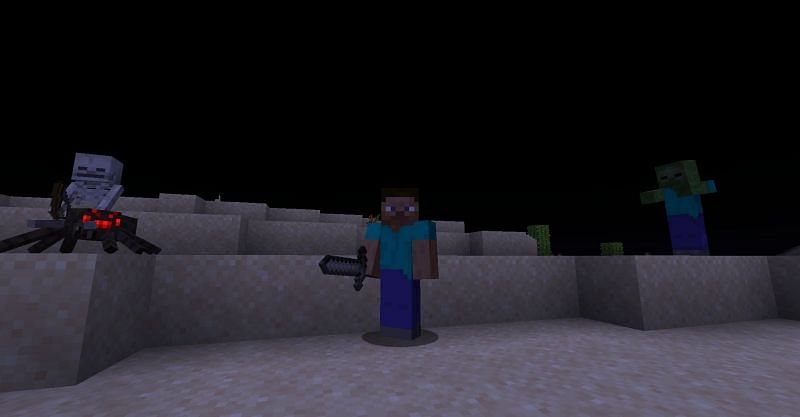 Steve surrounded by monsters in Minecraft. (image via Minecraft)