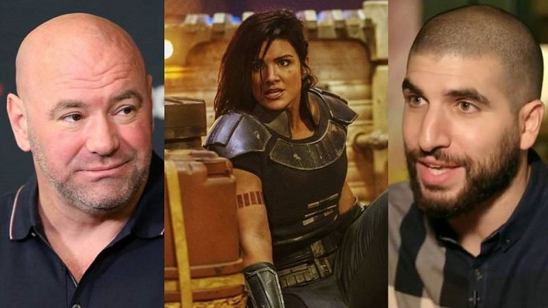 Dana White (left); Gina Carano (center); Ariel Helwani (right)