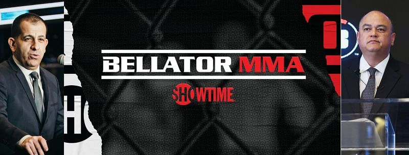 Stephen Espinoza (L) and Scott Coker (R) announced that Bellator will air exclusively on Showtime network