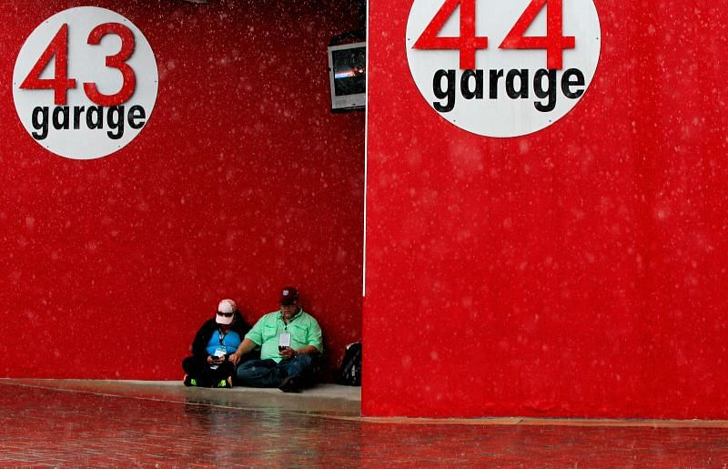 The rain had everyone looking for cover during the Daytona 500. (Photo by Sean Gardner/Getty Images)