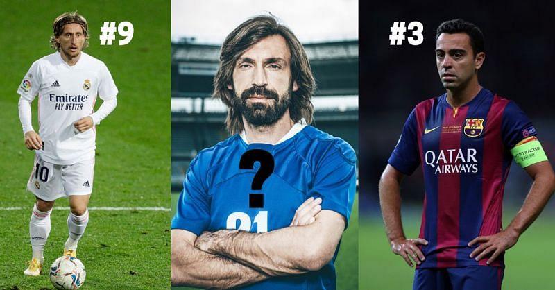 Luka Modric, Andrea Pirlo and Xavi