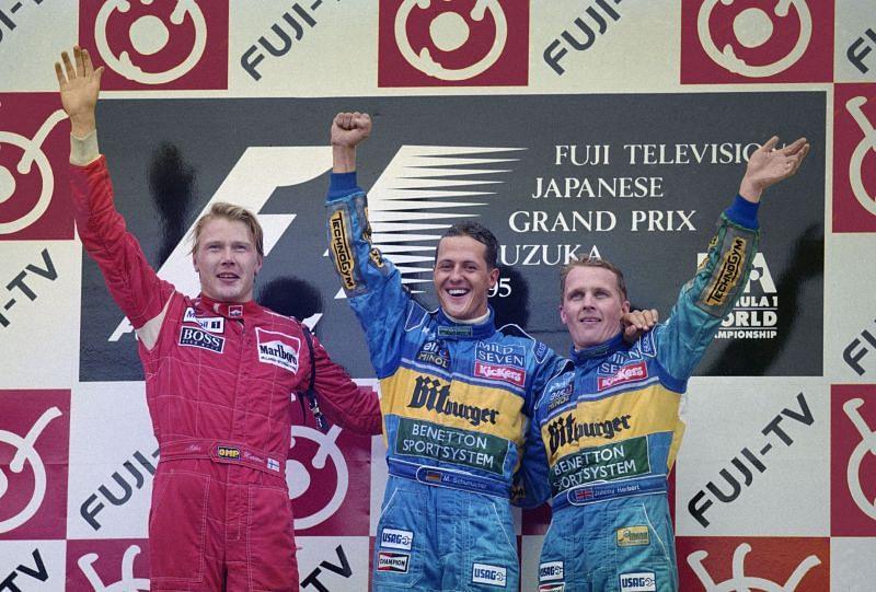Michael Schumacher had to battle with the likes of Mika Hakkinen, Damon Hill,and Kimi Raikkonen to win the championship.
