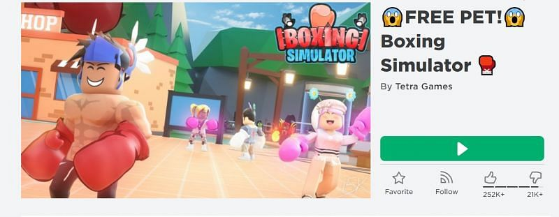 The Boxing Simulator game on Roblox. (image via Roblox.com)