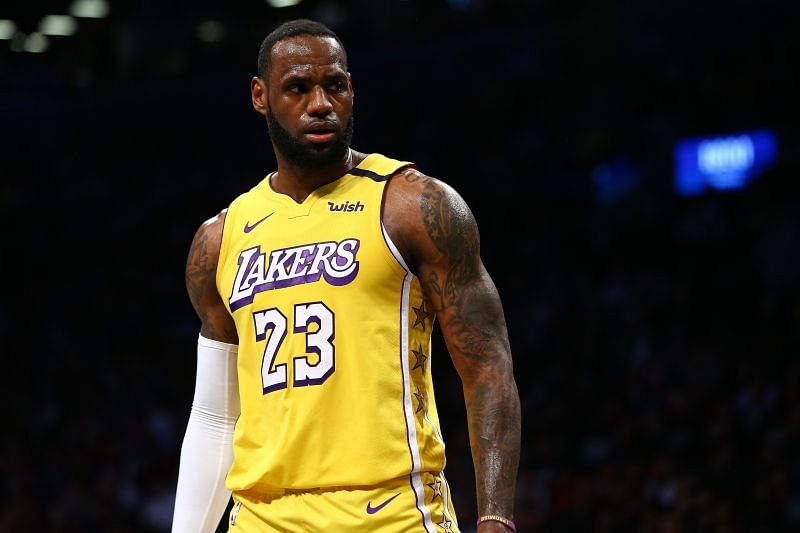 LeBron James of the Los Angeles Lakers in action against the Brooklyn Nets.