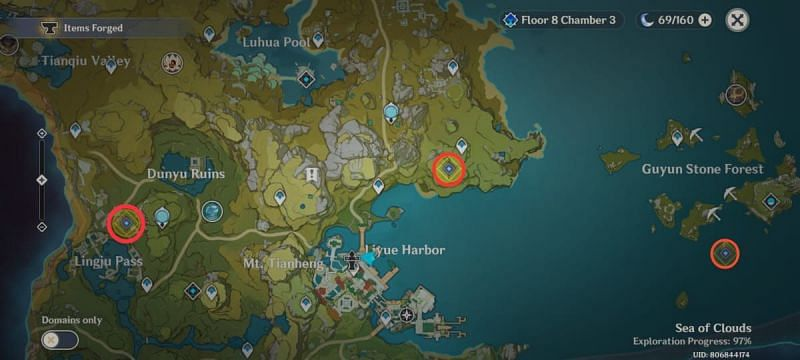 Locations of the 3 treasures needed to be retrieved
